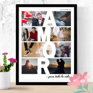 foto collage enmarcada con la palabra amor en el diseño