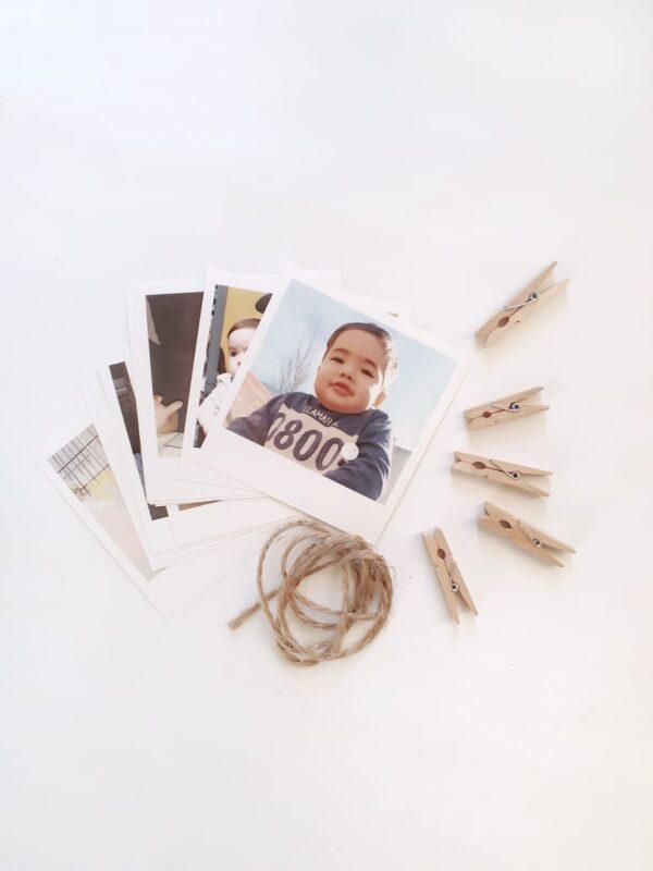 fotos polaroid con broches y cordon